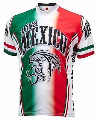 World Jerseys Viva Mexico  Herren Cycling Jersey Grün/ROT X-Large Bike
