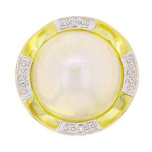 14k-Yellow-Gold-0-03ctw-Diamond-amp-13mm-Mabe-Pearl-Circle-Ring