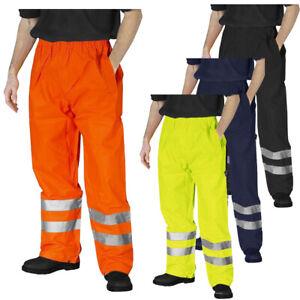 Hi-Viz-Impermeable-Lluvia-sobre-pantalones-de-alta-visibilidad-Vis-para-hombre-Pantalones-Elastico