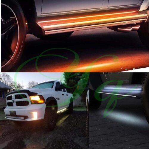 "2X 70/"" Running Board Side Step LED Light Amber White Turn Signal DRL Strip Bar"
