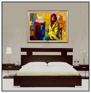 NICOLA-SIMBARI-Original-OIL-PAINTING-On-CANVAS-Female-Portrait-Signed-Art-LARGE