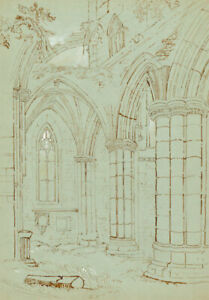 Early 20th Century Pen and Ink Drawing - Church Interior Ruins