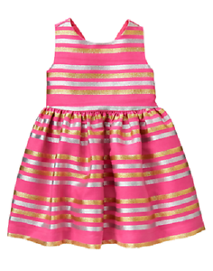 10e6240bfc Image is loading Gymboree-Family-Brunch-Metallic-Striped-Pink-Dress-Infant-