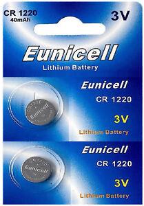 2-x-CR1220-3V-Lithium-Knopfzelle-40-mAh-1-Blistercard-a-2-Batterien-Eunicell
