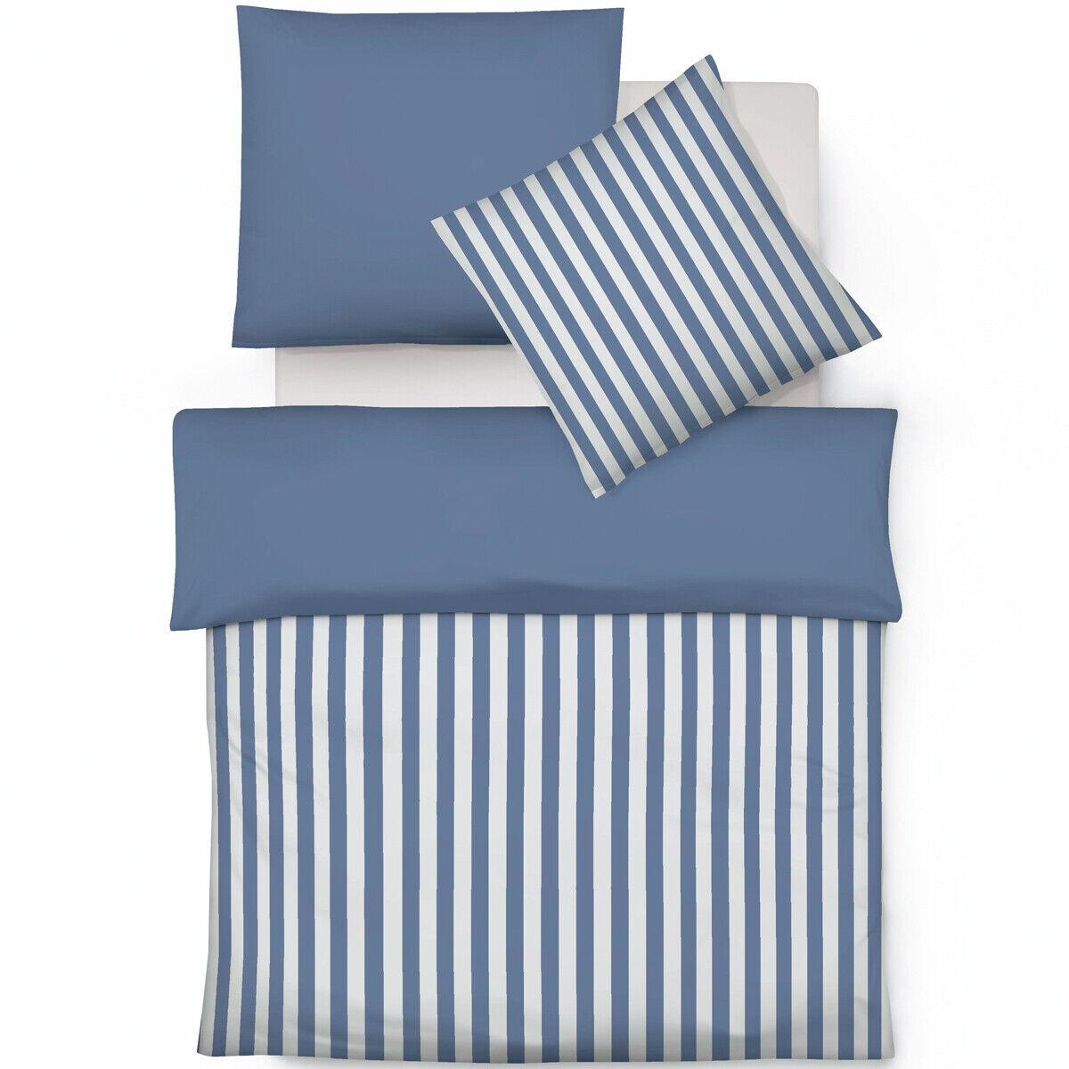 Fleuresse Wende Bettwäsche Buntgewebe Blau Mit Streifen Modernes