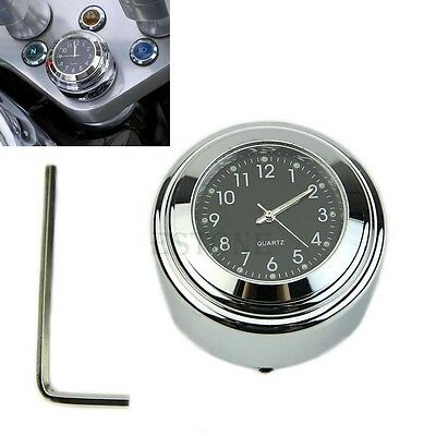 "Motorcycle 7/8"" 1"" Handlebar Temp Black Dial Clock Thermometer"