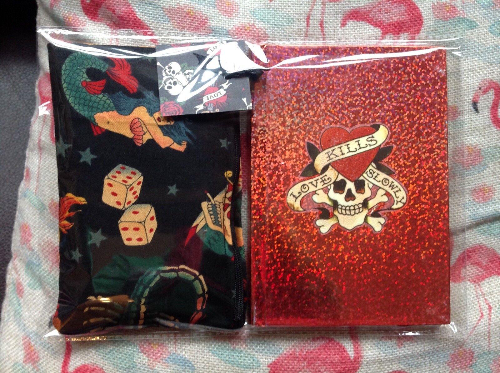 Rockabilly Tattoo Cosmetic Bag +Hardback Notebook Ed Hardy Inspired 2pc Gift Set