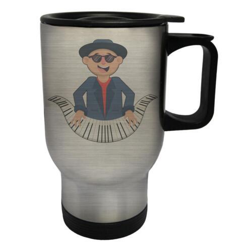 Jazz Day Piano Man Novelty Funny White//Steel Travel 14oz Mug b209t