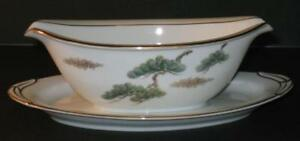 Noritake-Ming-GRAVY-SAUCE-BOAT-with-attached-underplate-Asian-Bonsai-Branch-5612