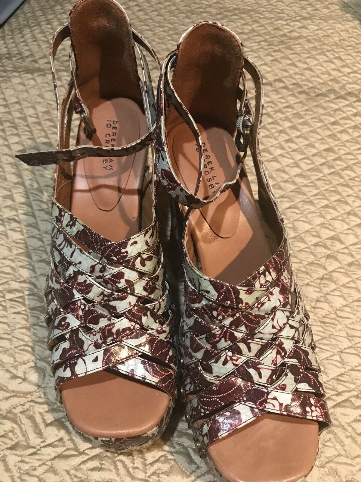 Derek Lam Donna Snake light Skin Shoes light Snake green with burgundy flowers size 9.5 f200ac