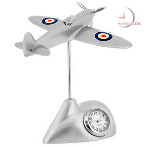 SPITFIRE-MINIATURE-BRITISH-FIGHTER-PLANE-COLLECTIBLE-MINI-CLOCK
