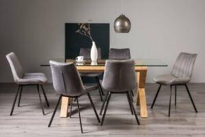 Goya Light Oak Glass 6 Seat Dining Table & 6 Fontana Grey Velvet Fabric Chairs