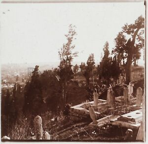 Costantinopoli-Turchia-Cimitero-di-Eyoub-C4-Placca-Da-Lente-Stereo-Vintage-1926