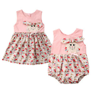 81b96e944597 Image is loading Kid-Baby-Girl-Sister-Matching-Floral-Clothes-Jumpsuit-