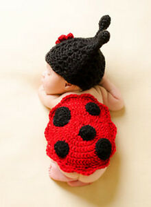 Newborn Baby Boy Girl Ladybug Hat Cover Crochet Photography Props Costume Outfit