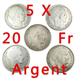 Lot-de-5-Pieces-en-Argent-20-Francs-Turin-Silver-Coin-France