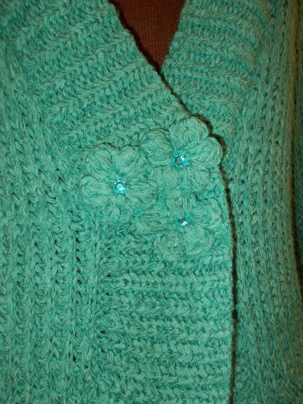 PER PER PER UNA turquoise bluee-green WOOL knitted long sleeve cardigan jumper top M M&S aeb78c