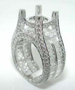 5-88-Ct-Rectangular-NON-HALO-ROUND-BAGUETTE-DIAMOND-Mounting-RING-14KW