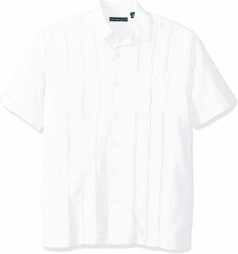Cubavera Men/'s Short Sleeve Linen-Blend Shirt W// Two Top Pockets and Pleats