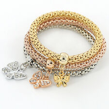 Gold silver rose gold Bracelets set Women Vintage Crystal Round butterfly