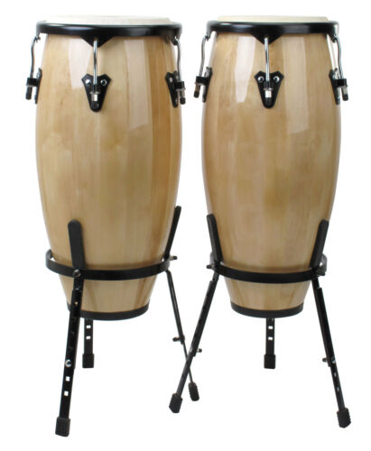 Latin Percussion Conga Set 10/'/' /& 11/'/' Inch Natural Wood Real Leather inc Stand