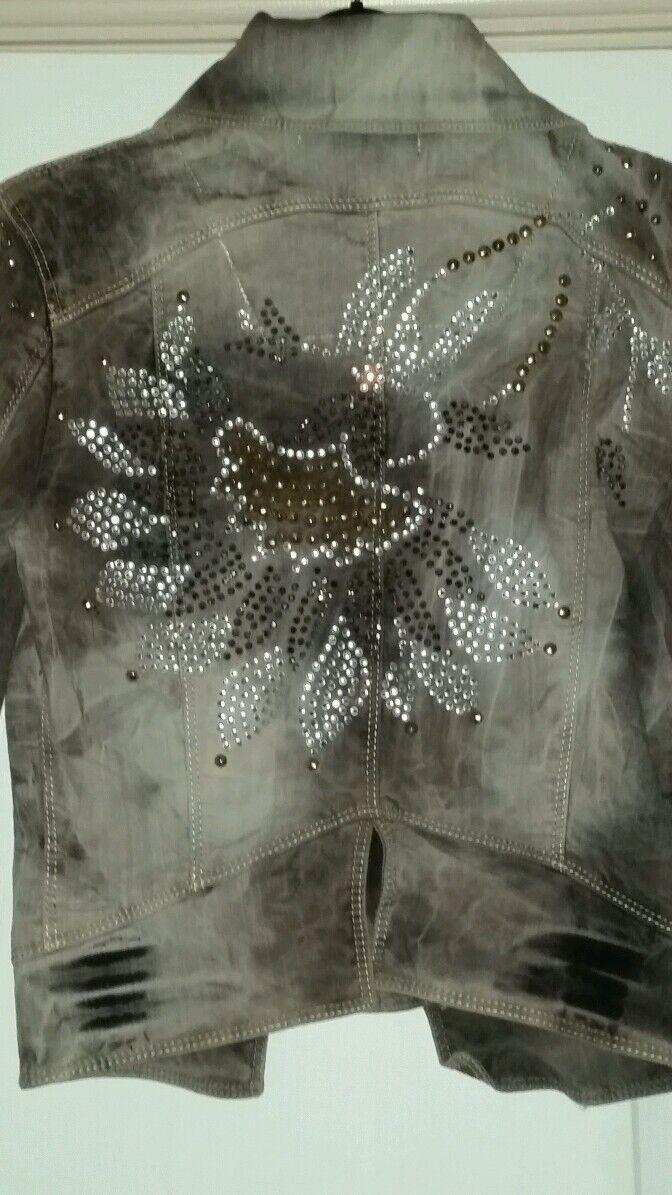 Nouvelle Marque Magnifique & sexy Taille 8 Embelished Marron unique en Veste en unique jean de las Vegas b93748
