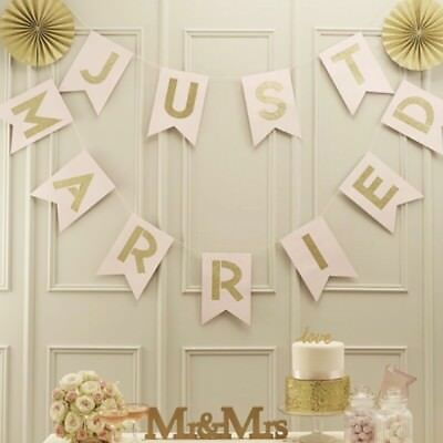 Gold Glitter Just Married Banner