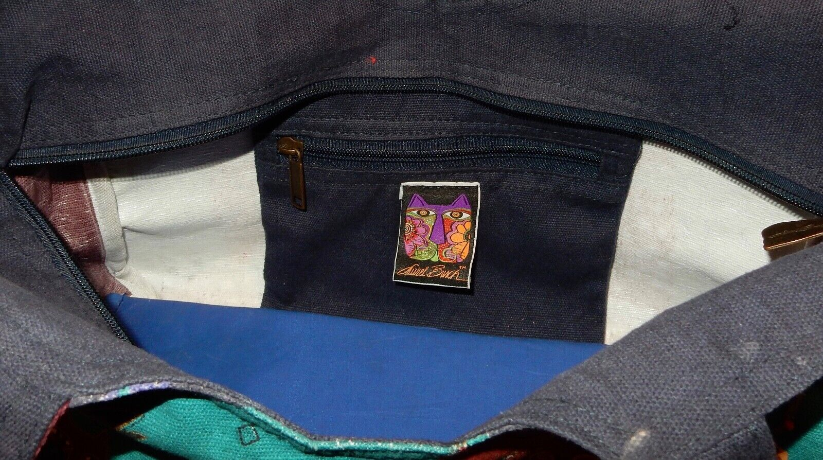 Laurel Burch Cat Tote Bag & Pouch Used - image 8
