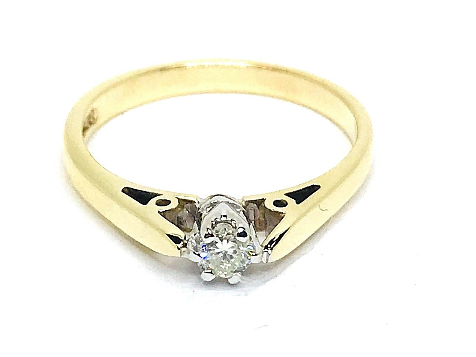 Solitaire Old Diamond 0.12ct.Colour H-I Clarity Vs2-Si1 Diamond 9k. gold Size N