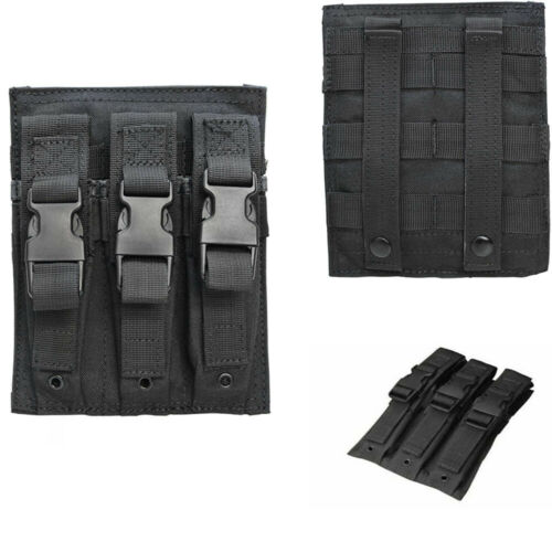 BLACK MOLLE Buckled Closure Triple Airsoft MP5 .22//9mm Magazine Mag Pouch