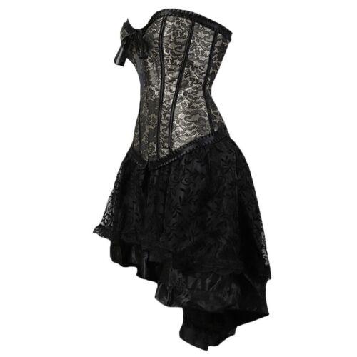 Details about  /Alacki Steampunk Overbust Corset with Skirt Set Halloween Waist Trainer Bustier