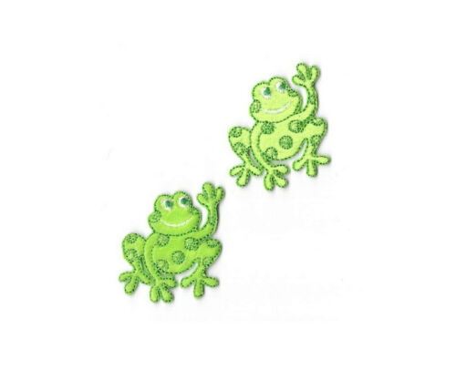 Frog Childrens Soft Felt//Embroidered Iron On Applique Patch Set Of 2 SMALL