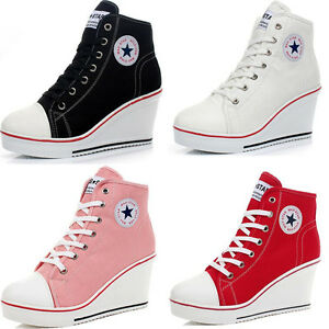 581ba8855f3a Women Canvas Shoes High Top Wedge Heel Lace Up Zip Casual Trainers ...