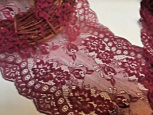 Beautiful-7inch-18cm-Burgundy-Galloon-Flat-Tulle-Lace-Trim-Bridal-Sewing