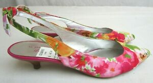 ANN-KLEIN-PINK-FLORAL-SLINGBACK-POINTY-TOE-KITTEN-HEELS-BACK-BOW-NEW-8-5