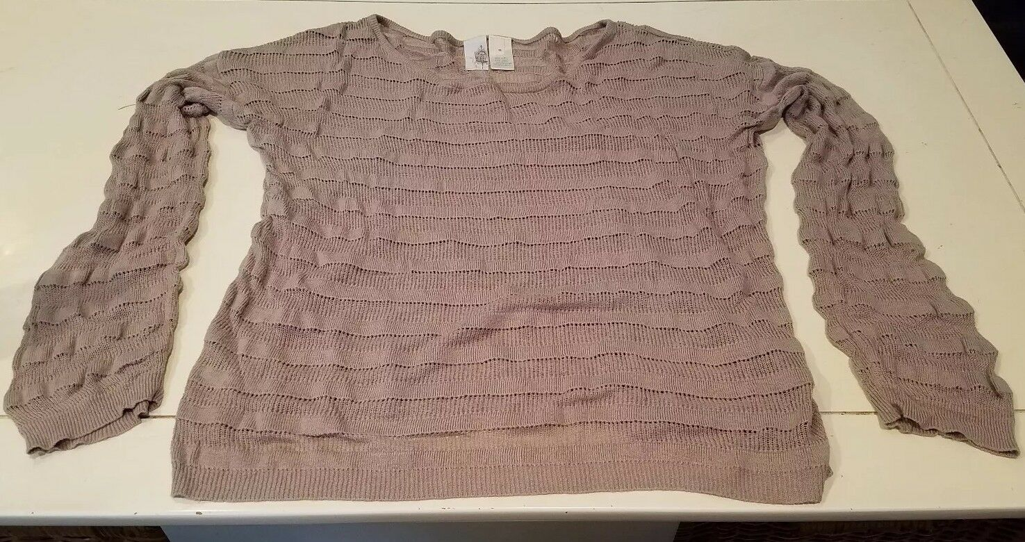Birdcage Anthropologie Women's Sweater Top Size Medium Taupe Long Sleeve