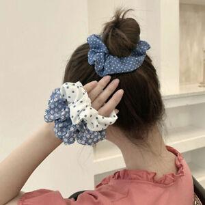 Women Dots Scrunchie Plaid Daisy Printed Hair Rope Girls Hair Accessories Party