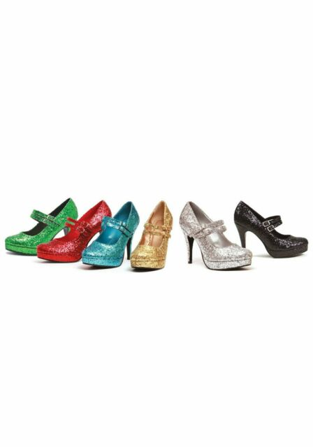 Ellie Shoes 4 Inch Mary Jane Women's Size Shoe With Double Strap And Glitter