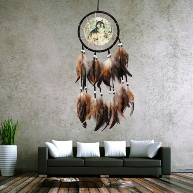 Dream Catcher Brown With feathers Wall Hanging Decoration Decor Ornament Wolf CA
