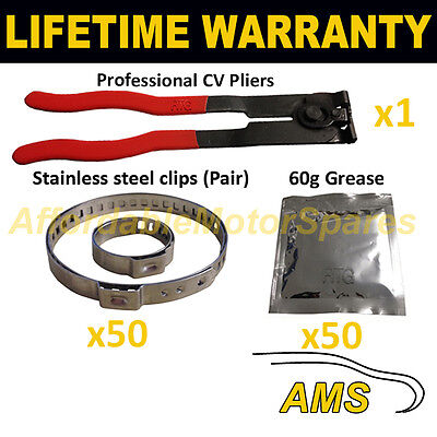 CV BOOT CLAMPS PAIR INNER /& OUTER x50 CV GREASE x50 GARAGE TRADE PACK KIT 2.50