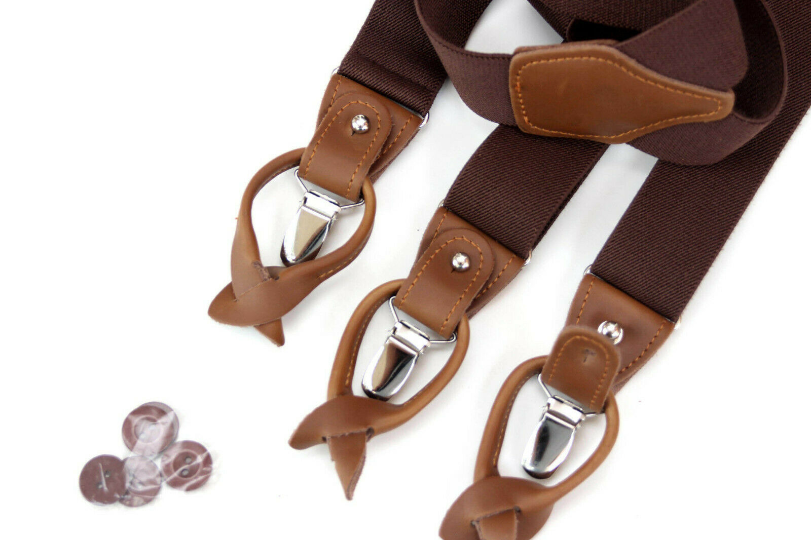 Brown Suspenders for Men Leather Clip on/Button Suspenders for Groomsmen