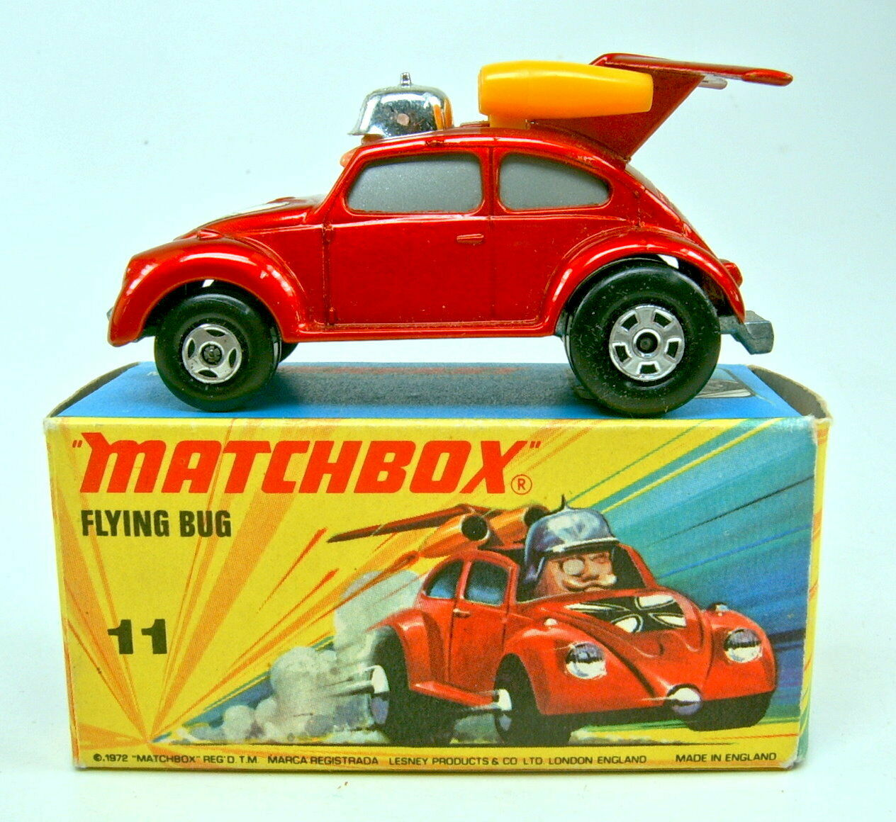 Matchbox SF No 11b Flying Bug redmetallic RARE 4 Spoke Front Wheels