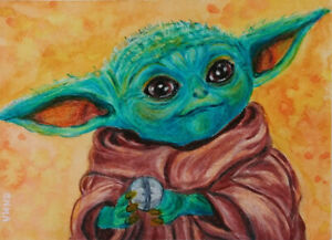 ACEO-ORIGINAL-GROGU-BABY-YODA-CHILD-MANDALORIAN-STAR-WARS-JEDI-card-by-EMMA