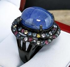 $799 Genuine 23.55ctw Tanzanite & Multi-Color Sapphire Black Sterling Ring 16.2g