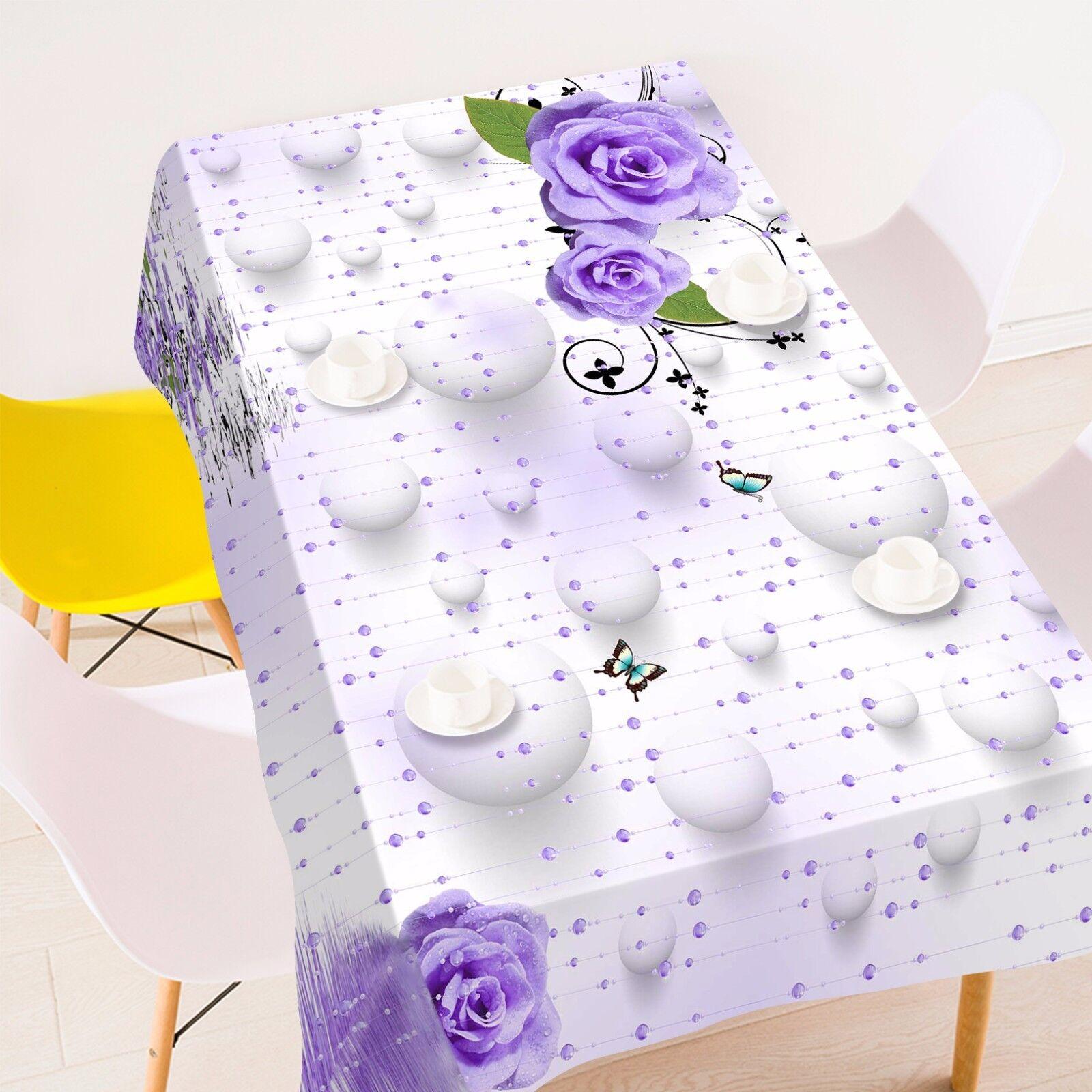 Violet 3D 48 Nappe Table Cover Cloth fête d'anniversaire AJ papier peint Royaume-Uni Citron