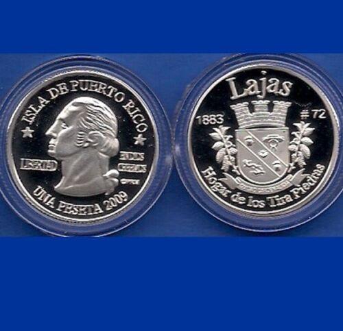 Silver PESETA LAJAS  2009 Puerto Rico Boricua Quarter 1//100 Plata