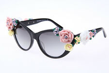 Dolce & Gabbana D&G DG4180 Authentic Flowers in Black Cat Eye Sunglasses 100% UV