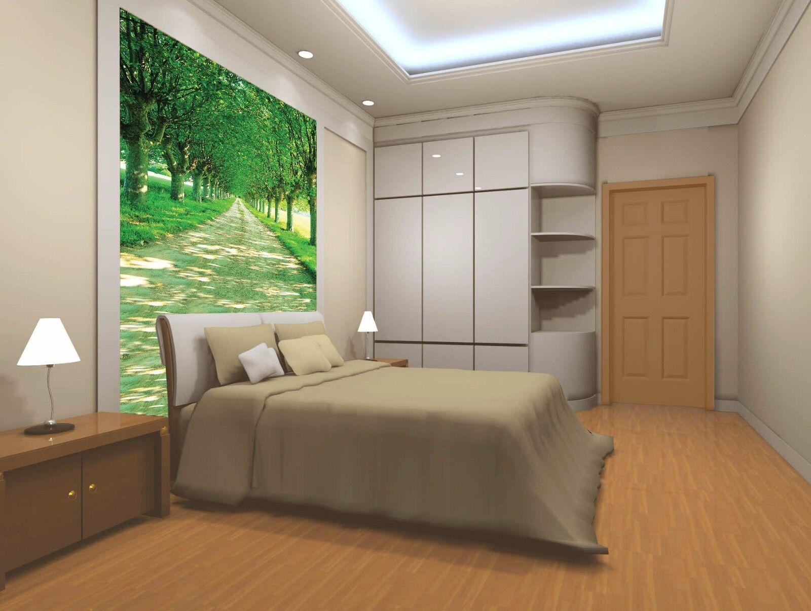 3D 3D 3D Road Trees Shade 003 Wall Paper Wall Print Decal Wall Deco Wall Indoor Murals 989569