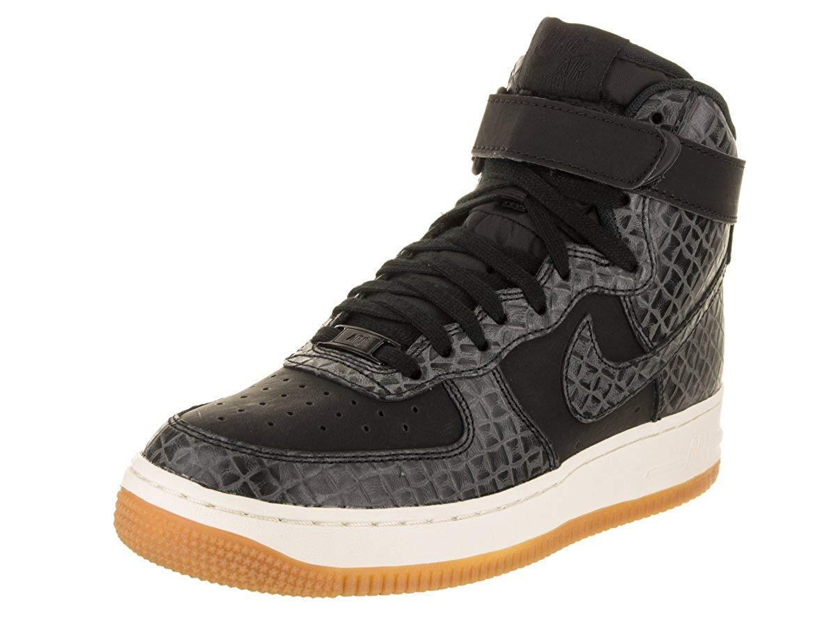NIKE Women's Air Force 1 Hi Premium Black Gum Med Brown Sail Basketball Sneakers