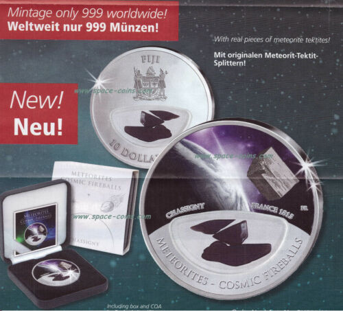 only 999 made Cosmic Fireballs $10 Fiji Chassigny METEORITE silver coin